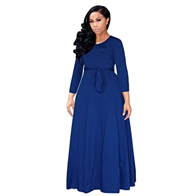 YouPue Damen Lang Kleid Mit Rundhals Herbst Winter 3/4-Arm Cocktails ...