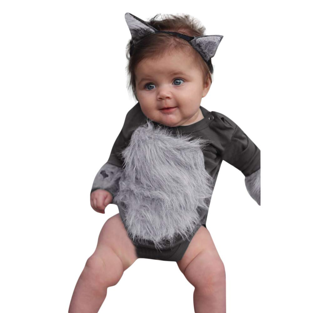 NUWFOR Newborn Infant Baby Boy Girl Hairy Patchwork Romper Bodysuit Outfits Clothes(Gray,6-12 Months