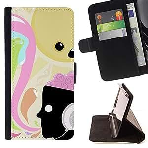 Momo Phone Case / Flip Funda de Cuero Case Cover - Música Auriculares Arte Cerebro - Samsung Galaxy S6 EDGE