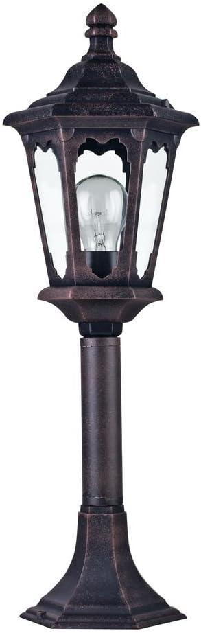 Rustikale Sockelleuchte Außen, Metall in Farbe Antik-Bronze, klares Glas, exkl.1 E27 60W IP44 220-240V Schwarz