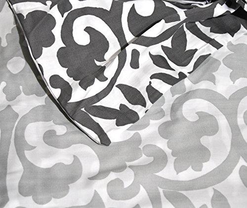 Tahari Home 3pc Luxury Cotton Duvet Cover Set Charcoal Gray White Scroll Reversible (King)