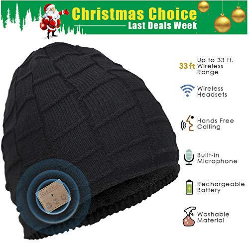 Bluetooth Beanie, Wireless Bluetooth Hat, Double Knit Music Beanie Men & Women, Built-in Microphone & Fully Washable, Gift for Winter Birthday Christmas Day Thanksgiving Day