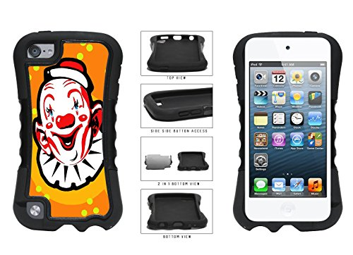 Orange Background Silly Clown Face Dual Layer Phone Case Back Cover Apple iPod Touch 5th Generation comes with Security Tag and MyPhone Designs(TM) Cleaning (Happy Halloween Backgrounds For Iphone)