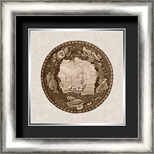 (Sepia Transferware III 20x20 Silver Contemporary Wood Framed and Double Matted (Black Over Silver) Art Print by Vision)