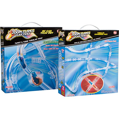 Zoom Tubes RC Car Trax, Tubular Fun Bundle: 25-Pc Main Kit with 1 Blue Racer & 25-Pc Tubular Expansion Kit (As Seen on TV)