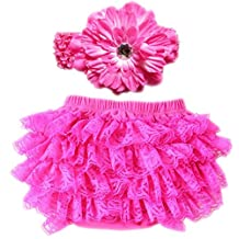 October Elf Baby Girl's Briefs Lace Ruffle Bloomer and Headband Diaper Cover