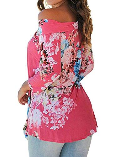 A Rosa Elegante Rossa Tunica 4 Barca shirt Jumper Fiore Tops Blusa Maglietta Rangeyes Stampa Scollo Manica Casual Donna Pullover Camicia 3 T Sweatshirt 1wnq4P