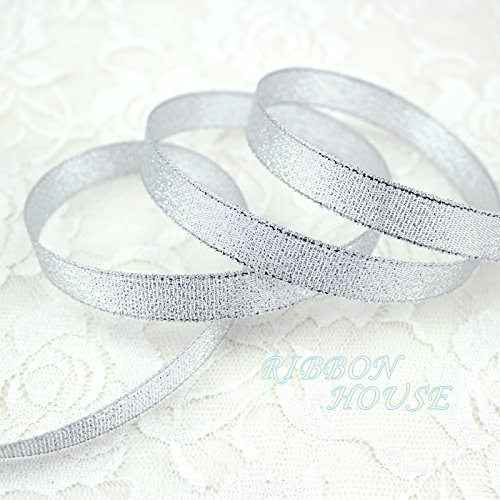 FunnyPicker (25 Yards/Roll) 1/2'' (12Mm) Silver Polyester Organza Ribbons Christmas Packaging Ribbon High-Grade Quality Squares Ribbons