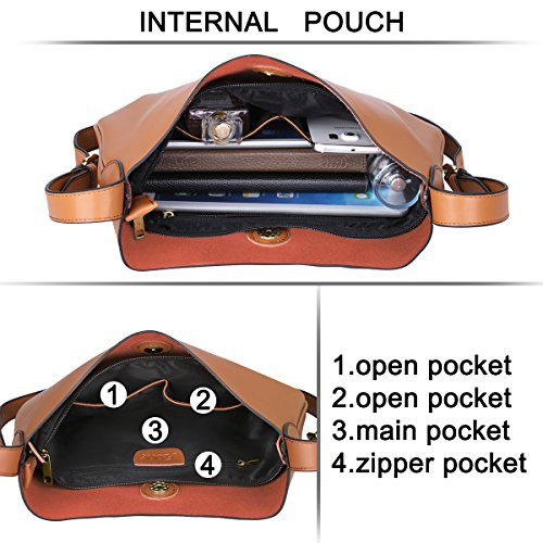 Crossbody Purse Ladies Drew Leather S Simple Bag Bag Shoulder ZONE Brown for EpRqxwHp