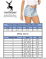 Ratoop Womens Mid Rise Shorts Frayed Raw Hem Ripped Denim Jean Shorts