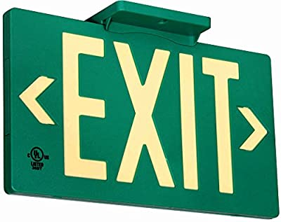 """UL Listed 100 foot Jessup Glo Brite 7040-100-B PF100 Molded Plastic Exit Sign, Single-Sided, 8.75"""" x 15.5"""", Green (Mounts 4 ways, includes bracket and arrows)"""