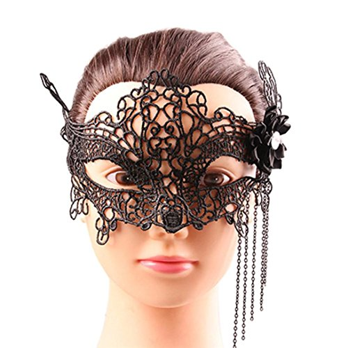 Women Vintage Sexy Lace Eye Face Mask Sexy Elegant Party Masquerade Mask Mysterious Black Butterfly Veil By Makaor (Length:25cm, # (Butterfly Feather Eye Mask)