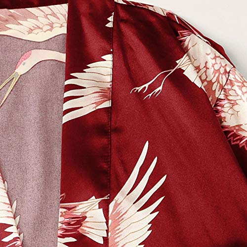 Women's Satin 3 Pieces Floral Pajama Sets Lace Lingerie Robes Silk Sleepwear Sexy Nightwear Loungewear Robe 2DXuixsh