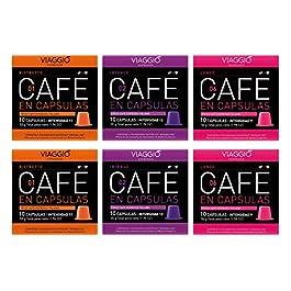 Viaggio Espresso Cápsulas de café compatibles con máquinas Nespresso Mix intensos (60 Cápsulas)