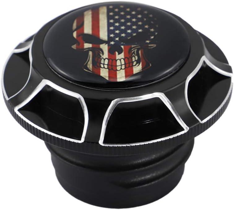 Chrome GUAIMI CNC Aluminum Fuel Gas Tank Oil Cap For Harley Davidson Sportster XL 1200 883 X48 Dyna Glued American Skeleton
