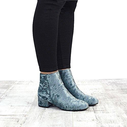ESSEX GLAM New Womens Velvet Flat Heel Chelsea Ladies Short Pixie Zip Ankle Boots Shoes GREY VELVET FL0jo9J
