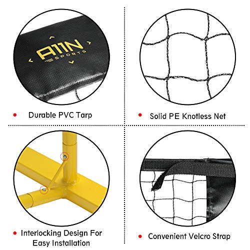 """A11N Portable Pickleball Net System, Designed for all Weather Conditions with Steady Metal Frame and Strong PE Net, Regulation Size Net with Carrying Bag- 22' Wide x 36"""" Tall, Indoor/Outdoor Use by A11N SPORTS (Image #1)"""