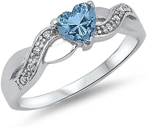 Simulated Aquamarine Heart & Cubic Zirconia Infinity Band .925 Sterling Silver Ring Sizes 4-11 104863