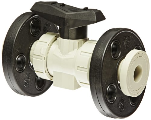 GF Piping Systems Polypropylene True Union Ball Valve, Actuatable, Two Piece, PTFE Seat, FPM Seal, 2