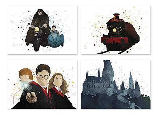 Harry Potter inspired Poster Watercolor Illustrated Coloring Wall Art Set of 4 Prints Decor Hogwarts Hermione Weasley Paper 8x10 P50 by PGbureau
