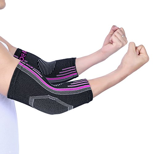Doc Miller Premium Elbow Sleeve 1 Pair Brace Support for Golf Tennis Elbow Arthritis Tendonitis Post Workout Increases Circulation Eases Swelling (Pink, - Miller Football