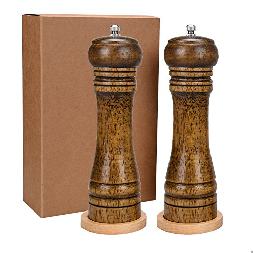(Salt and Pepper Grinder Mill with Ceramic Mill with Adjustable Solid Wood Grinder 2 pcs)