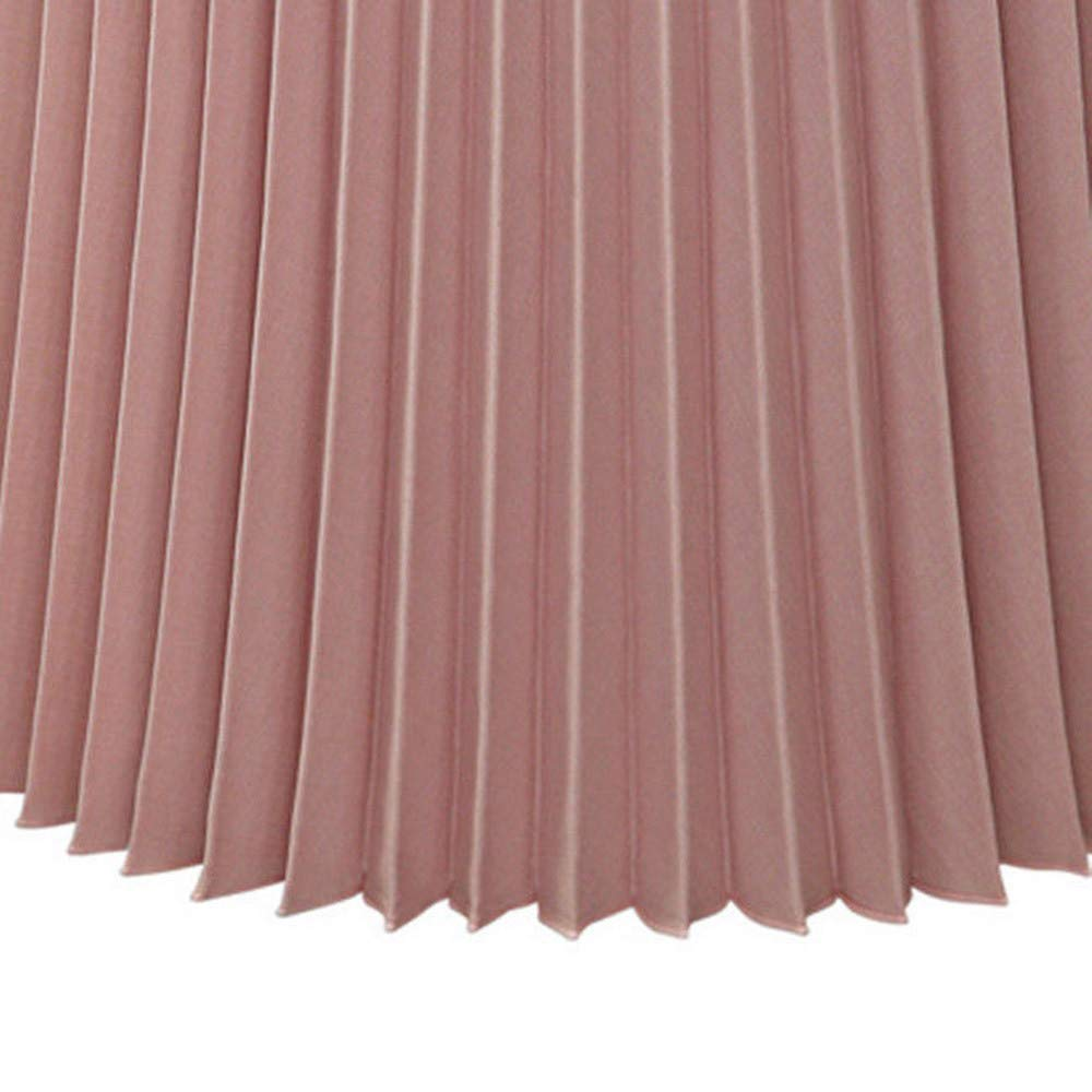Womens Solid Pleated Elegant Midi Elastic Waist Maxi Skirt