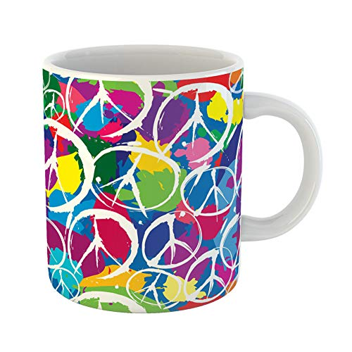 Emvency Coffee Tea Mug Gift 11 Ounces Funny Ceramic Pattern Peace Sign Multicolor Symbols of Dye Tye Gifts For Family Friends Coworkers Boss Mug