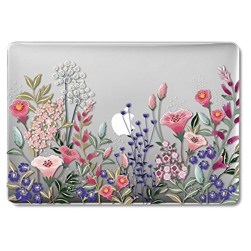 MacBook Air 13 Inch Case Older Version Compatible A1369/A1466 2008-2017 Release NO Touch ID, GMYLE Hard Plastic See Through Glossy Scratch Guard Cover for Apple MacAir 13 - Plum Blossom Floral Garden