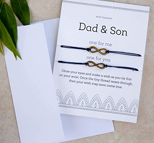Dad and Son Greeting Card Matching Matching Set Infinity Bracelets