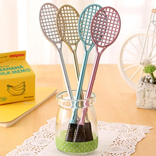 Iuhan 4PCS Cute Tennis Racket Pens Creative Office Stationery Student Gift Party Supplies Writing Pen (A, C)