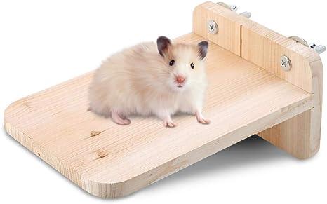 HEEPDD Hamster Trampolín Mascota Madera Natural Soporte Plataforma Percha Rectangular Escalada de Madera Herramienta de Ejercicio físico para Ratones ...