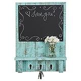 Drakestone Designs Chalkboard Display Shelf Key Hooks | Wall Mount | Handmade Rustic Reclaimed Wood | 24 x 17.5 Inch - Turquoise