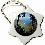 3dRose orn_107113_1 Waipio Valley and Black Sand Beach 'Through The Trees', Big Island Hawaii-Snowflake Ornament, Porcelain, 3-Inch