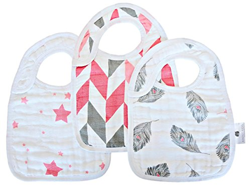 Kadut Kids Softest Muslin Cotton Baby Bibs for Drooling, Teething, and Feeding 3 Pack Ideal Baby Shower Gift Set For Girls Midnight Magic Pink