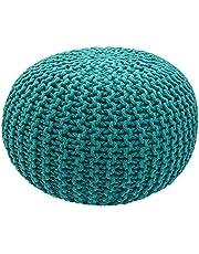 casamia Pouf Ø 55 cm gebreide kruk zitpoef zitpoef vloerkussen grof gebreide look extra hoog hoogte 37 cm kleur groen