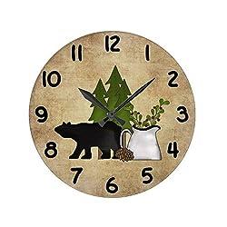 Lionkin8 Rustic Country Mountain Bear Wall Clock