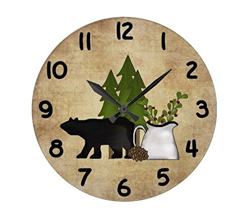 Lionkin8 Rustic Country Mountain Bear Wall Clock -