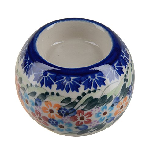 BCV Classic Boleslawiec, Polish Pottery Hand Painted Ceramic Ball, Tea Lite Candle Holder, Collection U-008