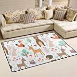 Sunlome Cute Cartoon Animals Bear Fox Rabbit Deer Owl Area Rug Rugs Non-Slip Indoor Outdoor Floor Mat Doormats for Home Decor 60 x 39 inches