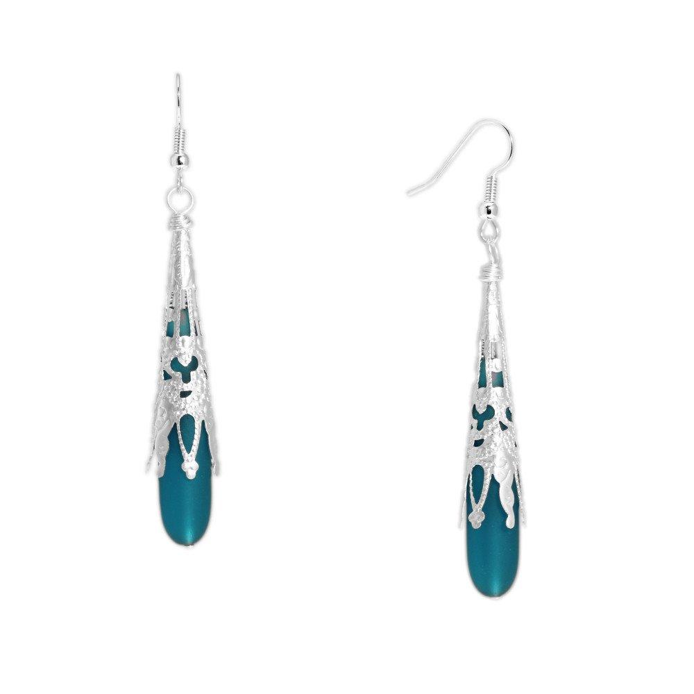 Fancy Filigree Ocean Blue Green Teal Cultured Sea Glass Long Drop Earrings in Silver Tone