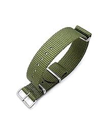 MiLTAT 21mm G10 NATO watch band, ballistic nylon, brushed hardware, forest green