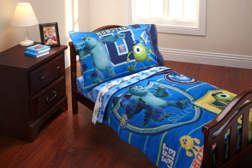 Disney 4 Piece Toddler Set, Monsters University (Monster University Bed Set)