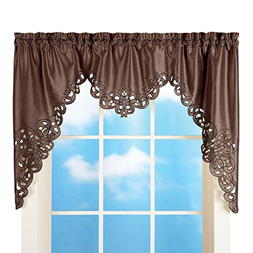 Collections Etc Elegant Scroll Window Valance Chocolate 58