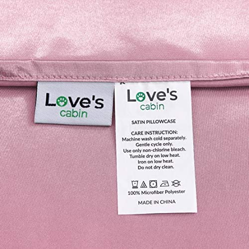 Love cabin Body Pillow Cover 20x54 inches Pink Soft Satin Body Pillow case with Envelope Closure