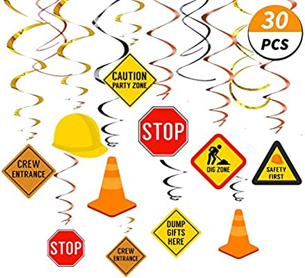 Construction Hanging Swirl Decorations Traffic Zone Birthday Theme Streamers Under Site Party Supplies Kids Boy Toddler First Favors