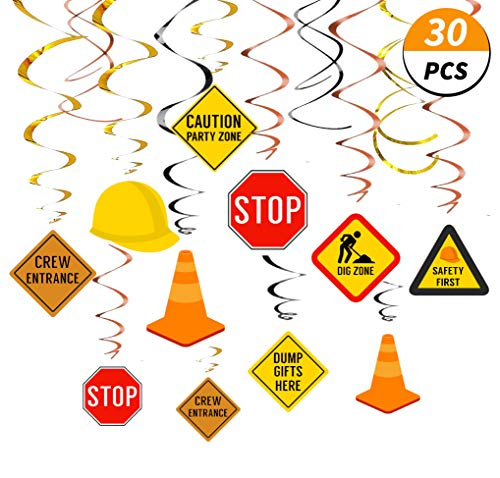 30Ct Construction Hanging Swirl Decorations, Traffic Zone Birthday