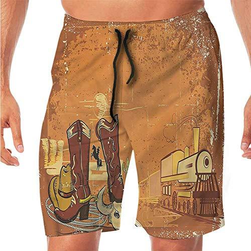 (ScottDecor Quick-Dry Beach Running Shorts Western,Grunge Locomotive Design Juniors Shorts XL)