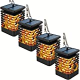 Gold Armour Solar Lights Outdoor - Flickering Flames Torch Solar Path Light - Dancing Flame Lighting 96 LED Dusk to Dawn Flickering Tiki Torches Outdoor Waterproof Garden (4 Pack Hanging TI)