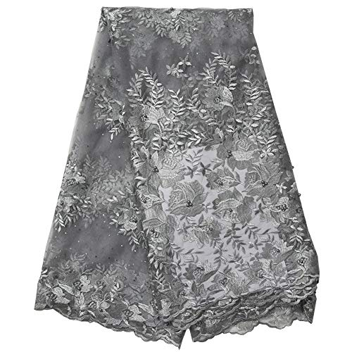 Latest Fashion African lace Fabric with Stones and Beads French lace Fabric for Party Wedding 5 Yards per lot
